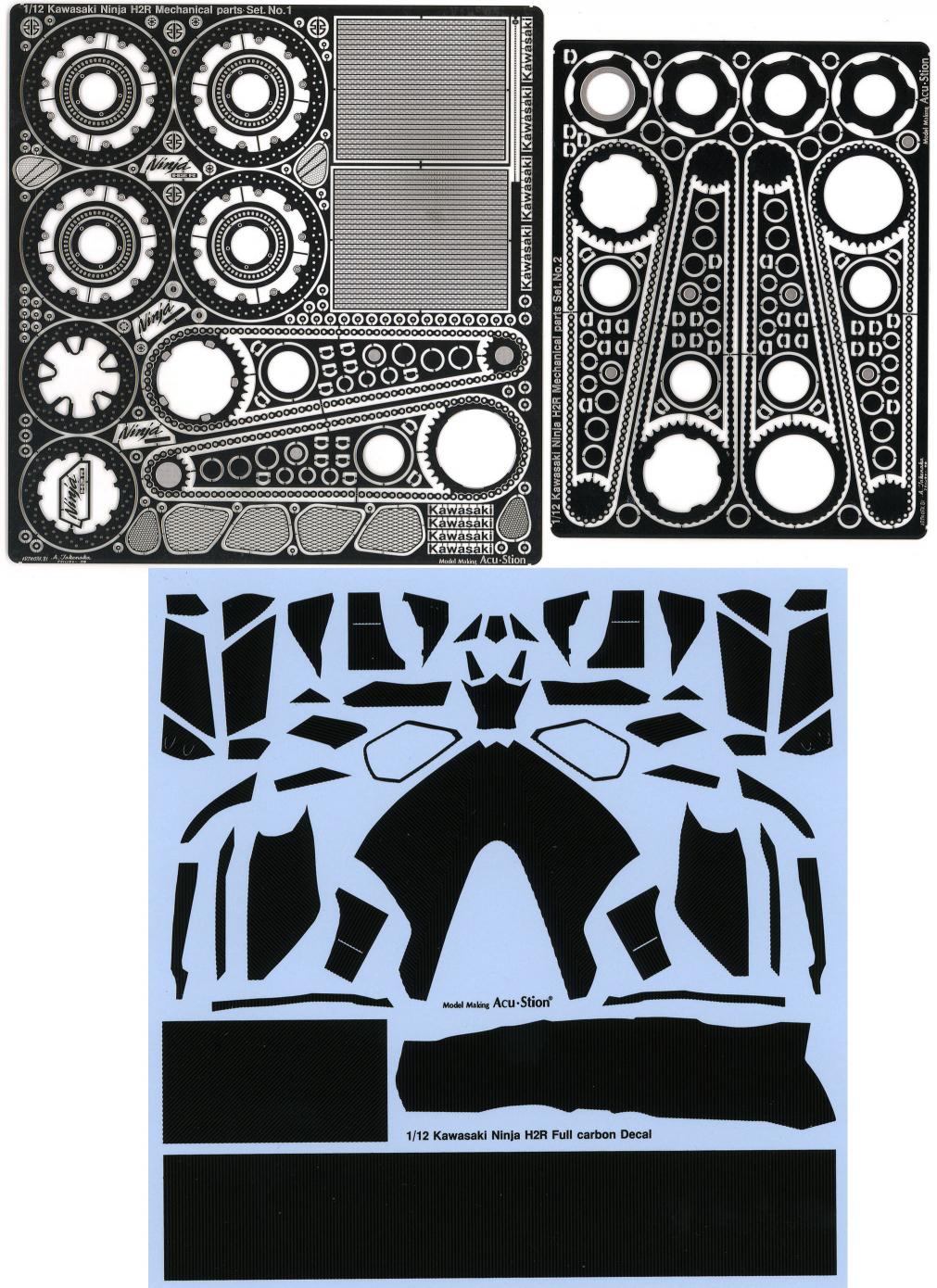 ACT-0077 1/12 Kawasaki Ninja H2R Mechanical parts Set  No 1+No 2+Full  carbon Decal