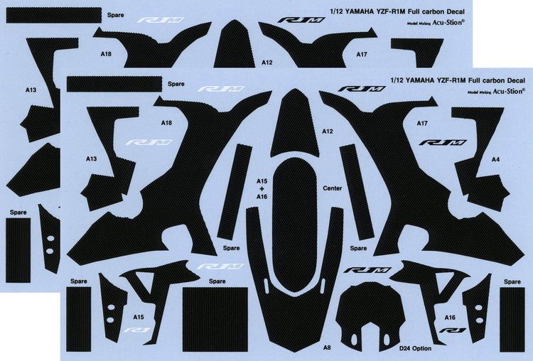 1/12 YAMAHA YZF-R1M Full carbon Decal×2p