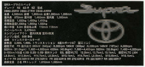 1/24 GR Supra Data plate (Japanese version)