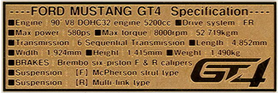 1/24 FORD MUSTANG GT4 Data plate