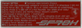 1/20 SF70H Data plate No.5 (Sebastian Vettel Type)